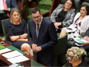 Victorian Premier Daniel Andrews addresses parliament. Picture: AAP/Tracey Nearmy